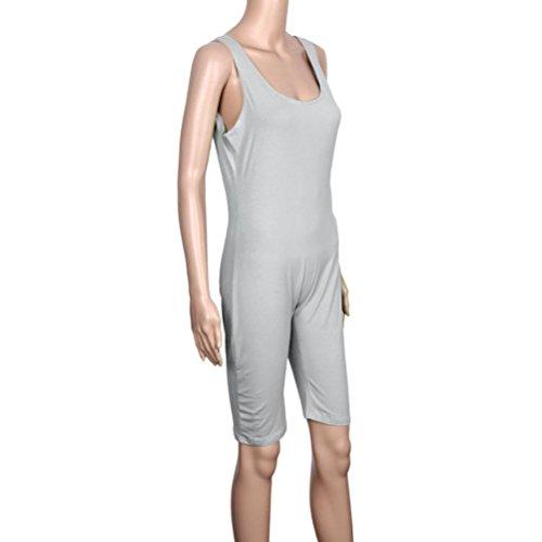 HARRYSTORE Las mujeres Backless Condole la correa sin mangas del deporte del vendaje del deporte Gris