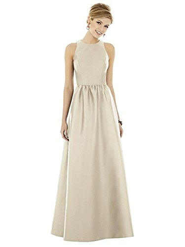 Kleider Festliche Faltenrock Brautjungfer Damen Champagnerfarben Langes Elegant Kleid Abendkleid Hochzeit Satin 6aYFE