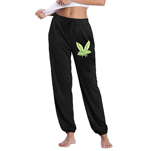 (Women's Victory Sign Weed Sweatpants with Pockets Sport Jogging Pants Black)
