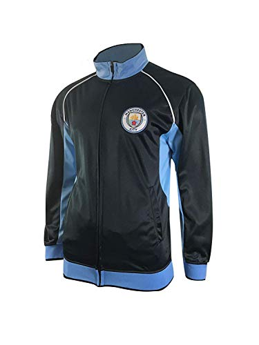 Manchester City Track Jacket Youth Boys Zip Front Soccer Football Official Merchandise (YM, Navy item# K_BB1D-02)