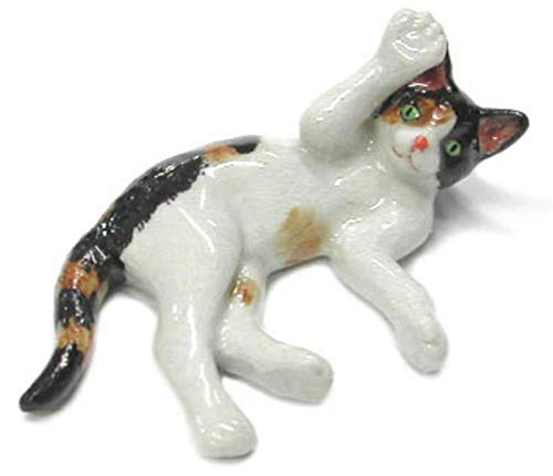 CAT CALICO Kitten plays on her back MINIATURE New Figurine PORCELAIN Northern Rose R314G