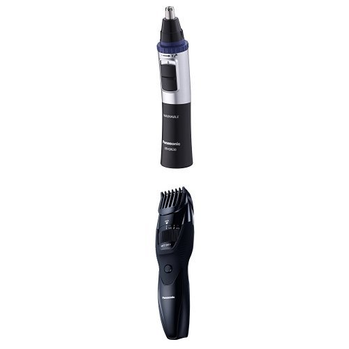 Panasonic ER-GN30 Nose, Ear and Facial Hair Trimmer (Wet/Dry with Vortex Cleaning System), Black + ER-GB42 Wet and Dry Beard Trimmer (20 x Cutting Lengths) product image