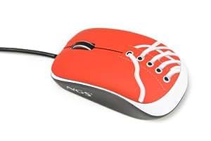 NGS Red Sneaker - Ratón óptico alámbrico 800 DPI, color: rojo