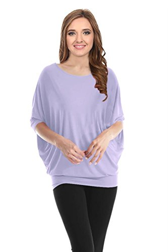 Dolman Sleeve Tunic Sweater - Lavender Tunic Sweaters Dolman Sleeves Batwing Drape Top