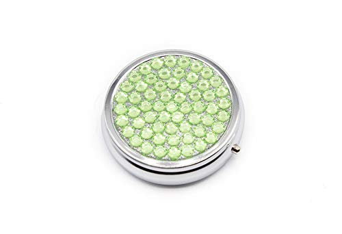 (Pill Box for Purse - Small Portable Travel Pill Case Holder That Can Easily Fit In Your Pocket - Vintage Collectible Cases with 3 Compartments-Use Daily To Organize Your Medicine (Rhinestone, Peridot))