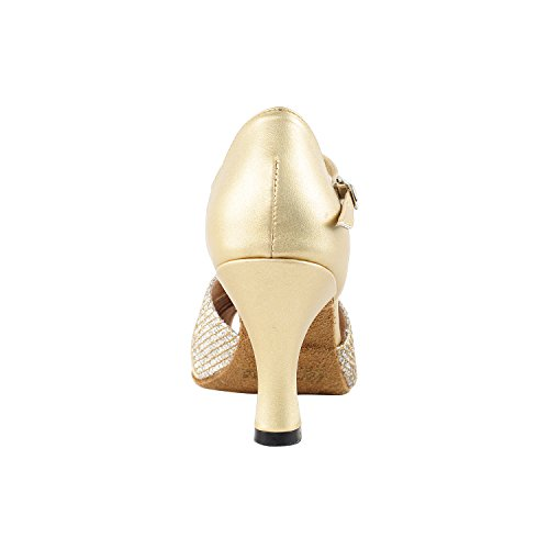 50 Shades Of Gold Dance Shoes Collection, Comfort Evening Dress Wedding Pumps, Ballroom Shoes For Latin, Tango, Salsa, Swing, Theather Art by 50 Shades (2.5 3 & 3.5 Heels) 6006- Gold Pu & Sparkle
