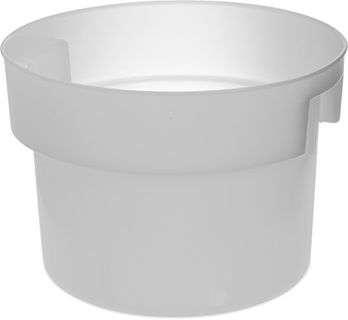 Carlisle 120002 Bain Marie Round Storage Container, 12 Quart, Polyethylene, White