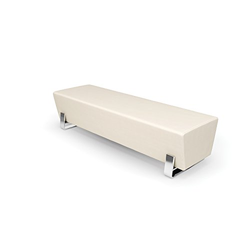 Series Axis - OFM Axis Series Contemporary Triple Seating Bench, Textured Vinyl with Chrome Base, in Linen (4003C-LIN)