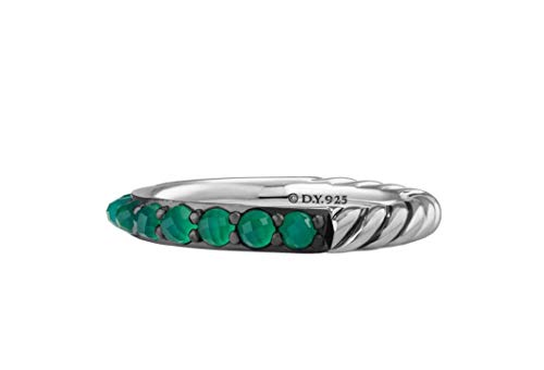 David Yurman 3mm Cable Berries Green Onyx & Sterling Silver Band Ring # 38R