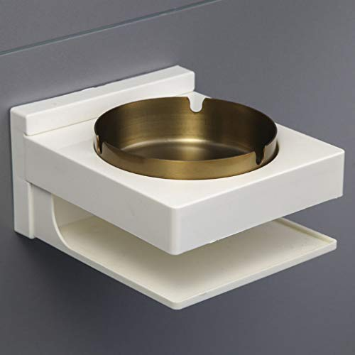 (Maikouhai Wall-Mounted Ashtray, ABS + Stainless Steel, Ash Bin Ashtray Outside Pub Garden Office Smoking Box Tray for Cigarette Storage in Bathroom - 14x12.5x7.8cm (D:Gold))