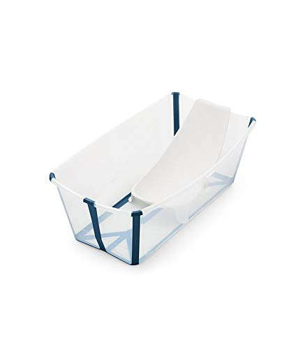 Stokke Flexi Bath Portable Baby Bathtub Bundle with Heat-Sensitive Plug and Newborn Baby Bath Support, Transparent Blue