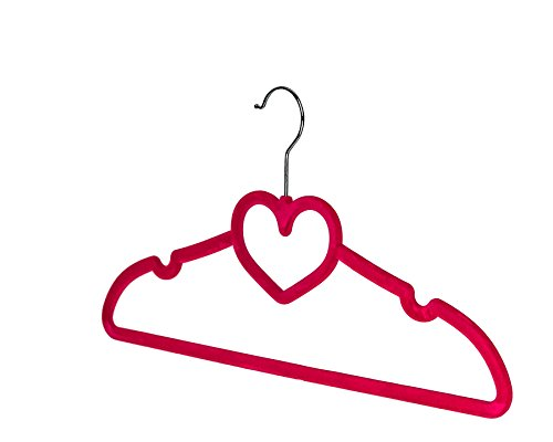 BriaUSA Clothes Hangers Heart Shaped Slim, Sturdy with Steel Swivel Chrome Hooks - Dark Pink - Set of 10