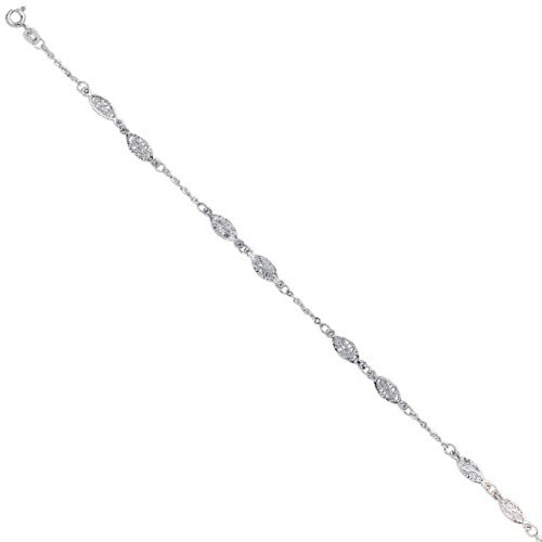 (JewelStop 14k Solid White Gold Filigree Ladies Anklet, Spring Ring Clasp - 10