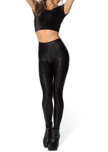70s 80s Workout Costume (Shiny Fish Scale Mermaid Leggings for Women Pants S-3XL Halloween Cosplay Costumes NightClub Dancing Dress (2XL, Black))