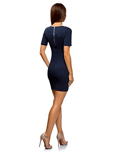 Donna Coste Aderente Ultra Abito Blu A 7900n Oodji fPAqTB