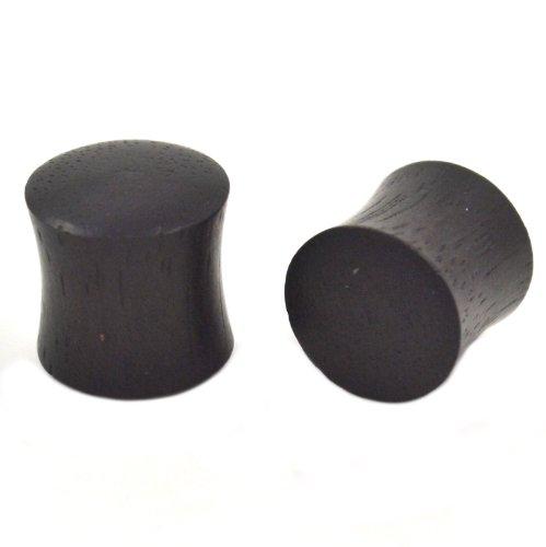 Pair (2) Solid Black Areng Wood Ear Plugs Organic Saddle Gauges - 0G 8MM