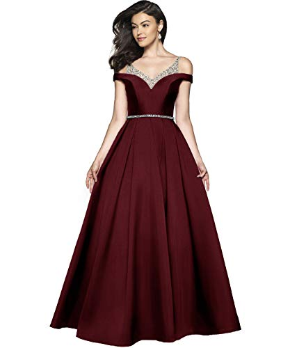 YGSY Cold Shoulder V Neck A-line Pleated Satin Plus Size Formal Evening Dresses Long Prom Dress with Ruched Skirt Size 18 Burgundy