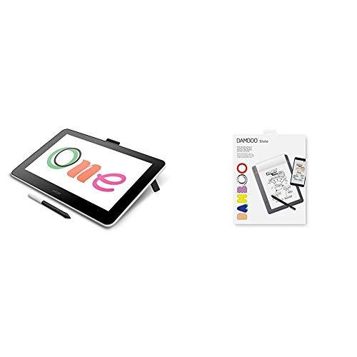 Wacom One Digital Drawing Tablet with Screen Plus a Bonus Bamboo Smartpad Slate Small