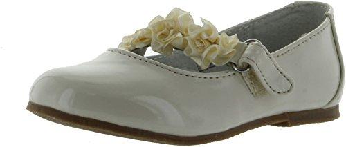 Im Link Girls Floral Dress Slipper Shoes,Ivory,1