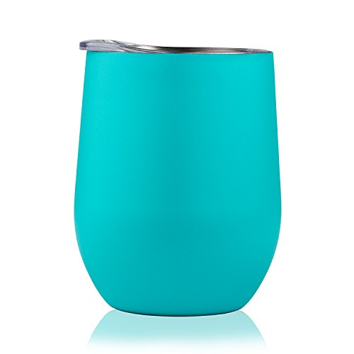 DOKIO 12 oz Wine Glasses Cyan Sippy Cup Tumbler Stemless Stainless Steel Double Wall Vacuum Insulated With Crystal Clear Lid Powder Coated For Ice Hot Drink Coffee Champagne Cocktail Mug For Outdoors