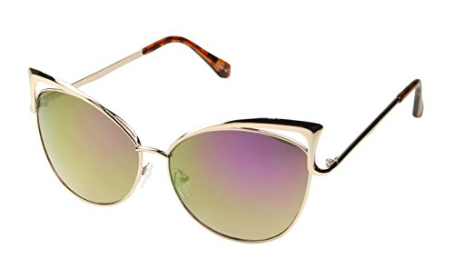 ShadyVEU - Fashion Cat Eye Oversize Flash Mirror Lens Metal Mod Sunglasses (Rose Gold w/ Purple Lens, - Cat K Kim