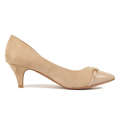 Guilty Shoes Womens Deco Embellished Classic Elegant Closed Pointy Toe Low Kitten Heel Dress Pump Shoes Heeled-Sandals, 12-Beige, 5