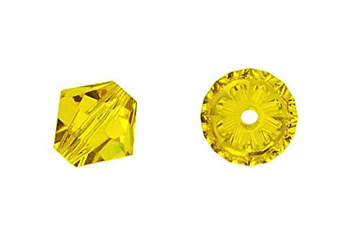 144 pcs Swarovski crystal 5328 / 5301 4mm CITRINE (249) Genuine Loose Bicone Beads ()