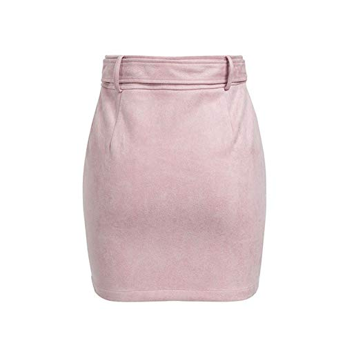 Jupes Pink Femmes Jupes Rivet Hiver Suede Automne Femmes Sash Bodycon Noir Taille Casual Jupes Zipper Courtes Sexy Haute UwnSgZqf