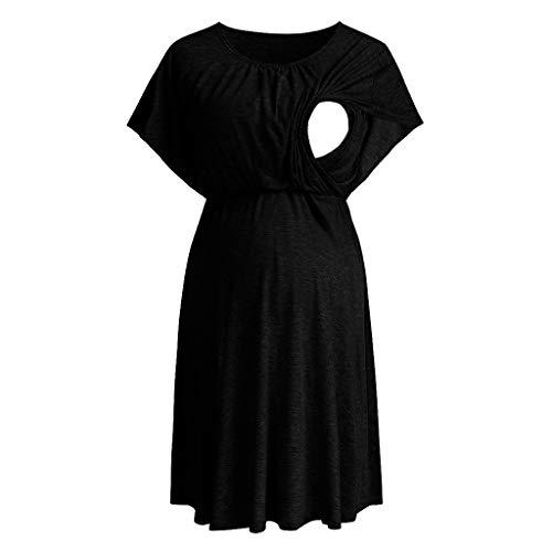 Forthery Women Summer Solid Pregnant Maternity Nursing Breastfeeding Sleeveless O-Neck Ruffles Ruched Dress(Black,M=US 6) -