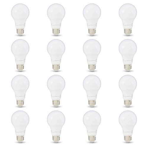 AmazonBasics 40W Equivalent, Soft White, Non-Dimmable, 10,000 Hour Lifetime, A19 LED Light Bulb | 16-Pack