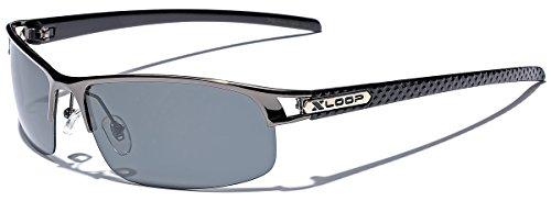 Small POLARIZED Half Frame Fishing Golf Sport Sunglasses - Gray & Black ()