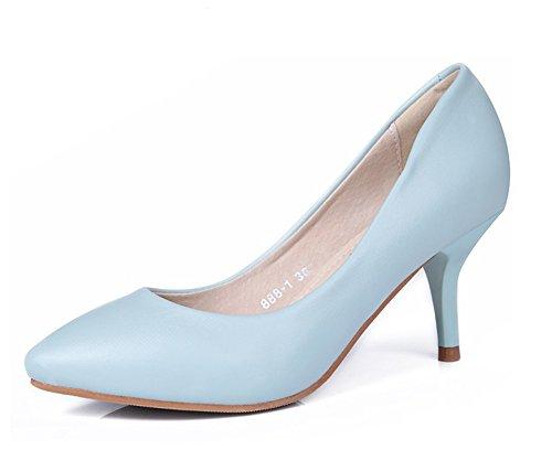 Easemax Mode Féminine Bout Pointu Coupe Basse Stiletto Chaton Talons Glisser Sur Les Pompes Chaussures Bleu