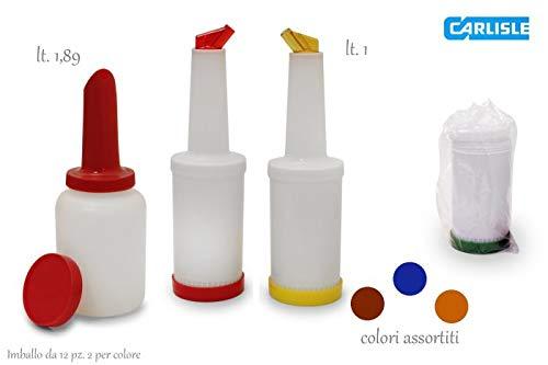 Carlisle (PS601N00) Store 'N Pour Quart Complete Unit Assortment, Dozen (1-Quart, Polyethylene, Assorted Colors)