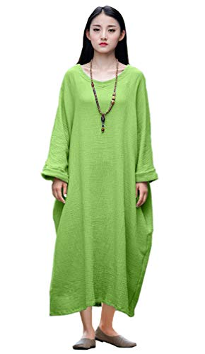 Soojun Women's Casual Cotton Linen Long Dress with Batwing Sleeve Green, One Size -
