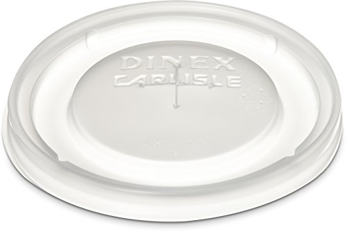 Dinex DX5900ST8714 Polystyrene Disposable Lid with Straw Slot, Translucent, For Swirl/Fenwick 9oz and 12oz Tumbler (Case of 1000)