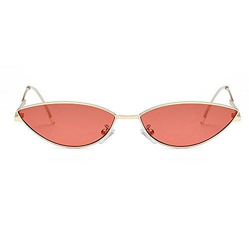 Lente Personalidad Retro Hombres la Unisex Sol de PC Gafas de Sol Gafas Gafas conducción de UV la Peggy pequeño de Sol Mujeres Gato Ojos Gu de y de Amarillo Rojo Color para señora protección wF5qS1RB