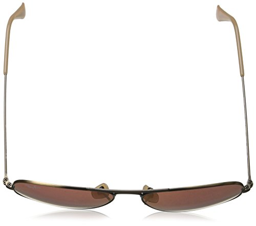 Ray-Ban 0RB3025 Aviator Metal Non-Polarized Sunglasses, Demiglos Brushed Bronze/ Red Mirror, 55mm