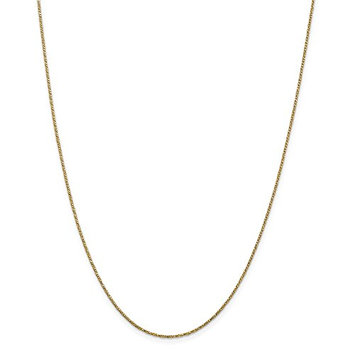 Mireval 14k Yellow Gold Twisted Box Chain Necklace 0.95mm 16