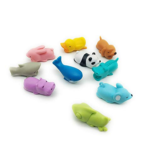 10-Pack Cable Bites Set - Cute Mini Animal Lightning Cord Protectors for iPhone IPad iPod - Cell Phone Charger Cord Protector (Best Iphone Charger Cable That Won T Break)