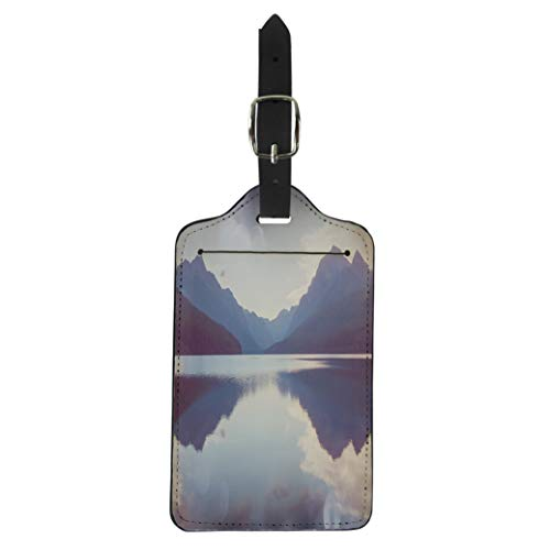 Pinbeam Luggage Tag Beautiful Bowman Lake Reflection of the Spectacular Mountains Suitcase Baggage Label]()