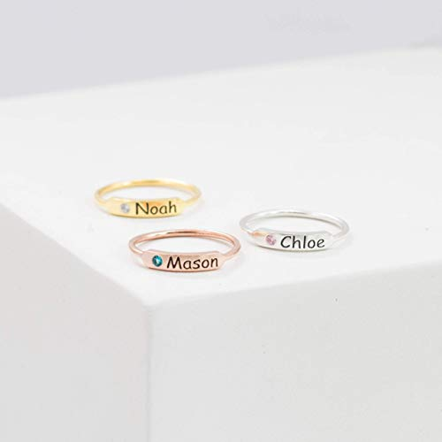 Birthstone Bar Ring Personalized Jewelry - Custom Name Ring Stacking Bar Ring Sterling Silver Ring Baby Name Ring Birthstone Rings Mother Gifts
