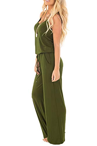 a3071625e sullcom Women Summer Solid Sleeveless Wide Leg Jumpsuit Casual Spaghetti  Strap Stretchy Long Pant Rompers (