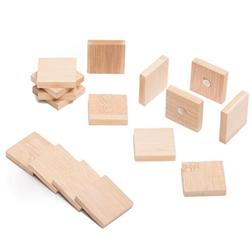 Triangle Shape Magnet - Fridge and Whiteboard Magnets Made of Bamboo - 4 Different Shapes - Circle, Square, Rectangle and Triangle - Beautiful, Cute and Unique Wooden Refrigerator and Office Magnets - Square 16 Pack