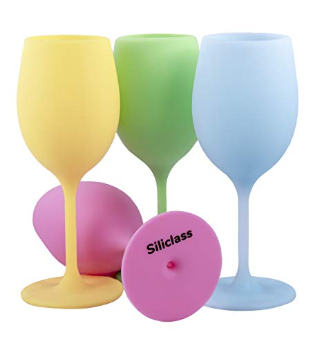 The silicone wine glasses colorful set of 4   BPA free   reuseable & unbreakable wine glass   dishwasher safe   An original & useful gift for any occasion   -