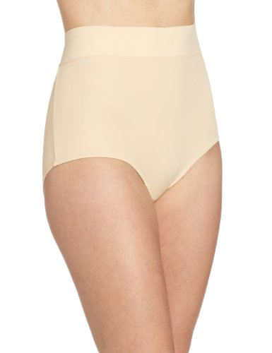 Warner's Women's No Pinching No Problems Modern Brief Panty, Sand, 9 - High Brief Cut Panties Nylon