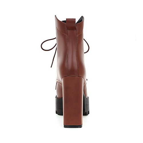 Allhqfashion Women's Closed Round Toe Solid Low Top High Heels Boots Brown iAWZcCNeV