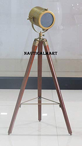 NauticalMart Brown Antique Designer Searchlight with Cherry Tripod Floor Lamp Home Lighting