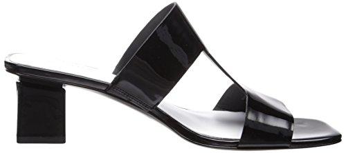 Via Spiga Dames Florence Block Hak Slide Sandaal Zwart Patent