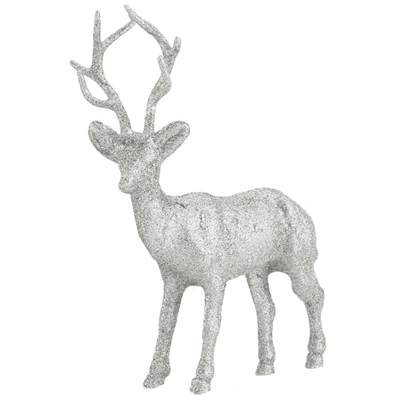 large glitter standing reindeer silver reindeer christmas decoration