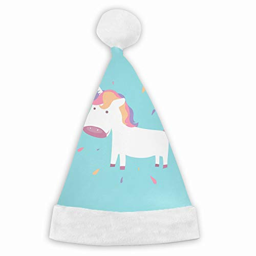Christmas Cute Unicorn Baby Pony for Fairy Animal Santa Claus Hat Adult Kids Type Festival Party Decoration Gift -